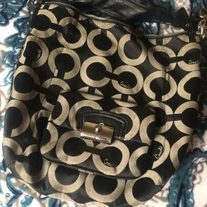 Authentic coach purse, Black and Tan pattern